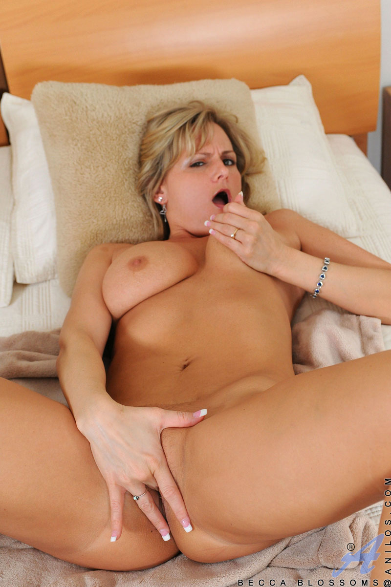 ... Horny Anilos Becca Blossoms caresses her pink pussy on the bed until  she gets her orgasm ...