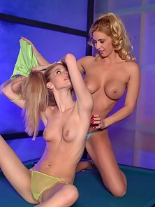 Sexy and sultry lesbians in bikini clit licking and dildo fucking thrill