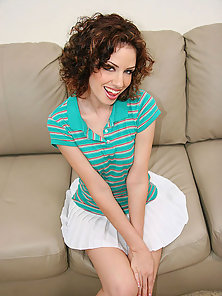 Smiling curly haired teen drops her skirt for a Ramon cock stuffing