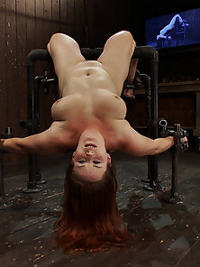 Well-mannered, big-tits Bella Rossi bound in backwards incline and fucked by Omega.