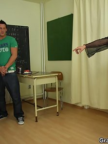 The guys fuck around in class until their mature teacher punishes them and then they fuck
