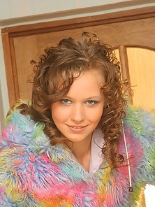 Curly teen beauty showing sexy curves