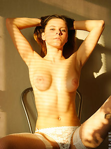 See helen peel off her sexy cotton bra and panties in the sunlight