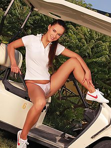 Sexy teen Victoria Sweet posing naked in golf car