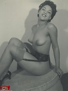 Exciting fifties ebony ladies showing their perfect body