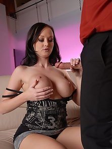 Hot babe with big tits riding a huge cock!