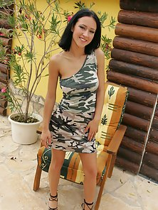 Afrodite Night Hot Camo Babe Takes It All Off