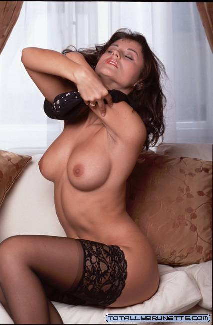 Busty brunette Sonja teasing us with her petite pussy ...