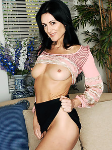 Hot mom rides her sons friends cock on the couch