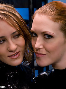 Red head and Blonde girls machine fucked, hot squirting orgasms