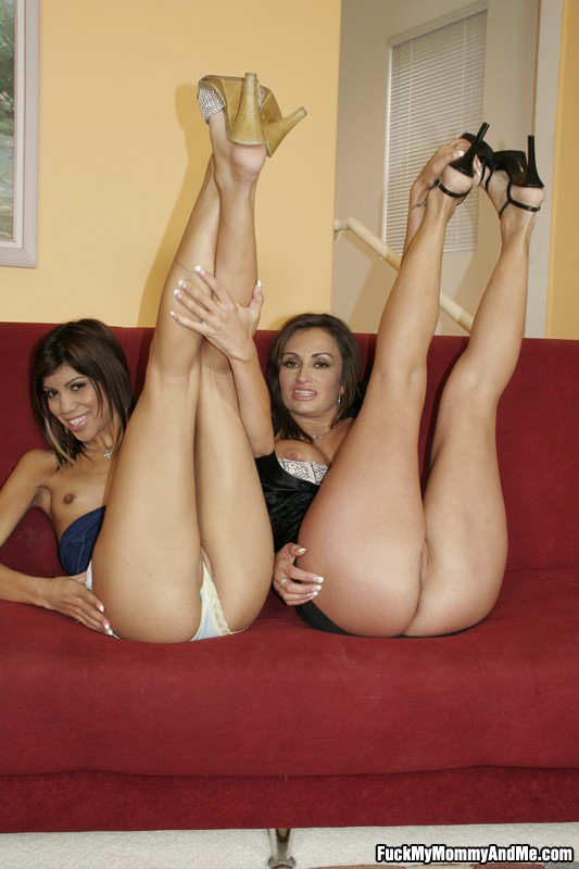 Above Mom teaching daughters nude