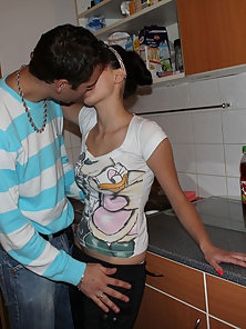 Beauty gets banged so hard by guy right in the kitchen
