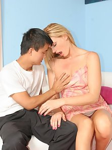 Cute Asian stud sticking it to his stunning blonde stepmom