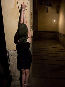 Cute girl submits to domination and sex in bondage.