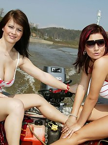 Two big breasted lesbos toying their tight pussy outdoor