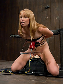 Sexy strawberry blond bound and machine fucked, cums hard in pile driver, missionary, doggie while m