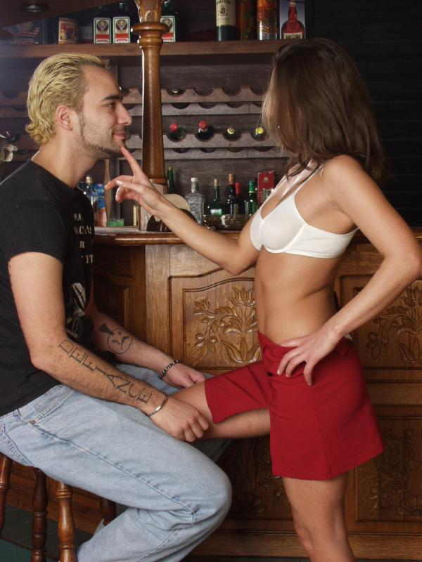 ... Horny brunette getting drunk and fucked wildly on the bar ...