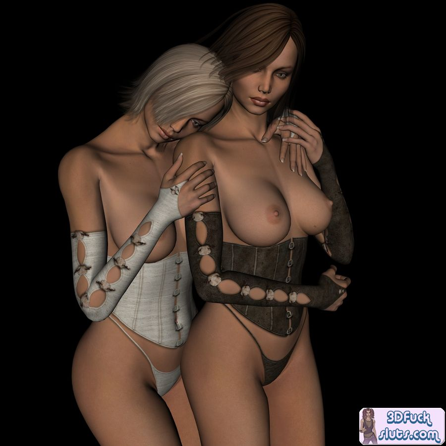 Horny lesbian 3D toon babes topless ...