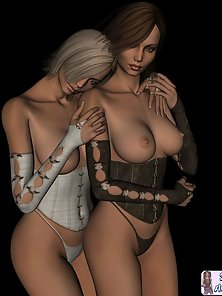 Horny lesbian 3D toon babes topless