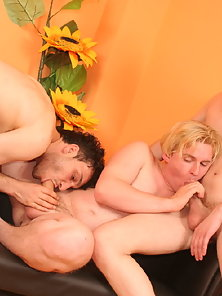 Three guys blowing white cummy facial loads after fucking raw