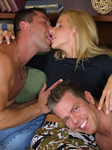 A hot babe takes on more than one cock