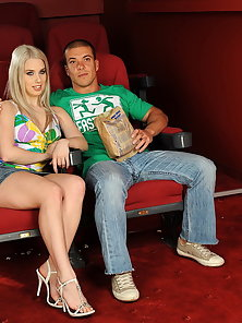 Blonde teen with perky tits fucked hard in cinema