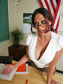 Busty mature teacher Ava Lauren getting pounded at school