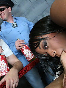 Big Bubble butt Roxy strips and fucks at a crazy hardcore party