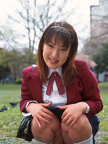 Busty Japanese schoolgirl sucks a hard cock and receives cum