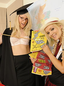 Cute blonde lesbians licking pussy in the classroom