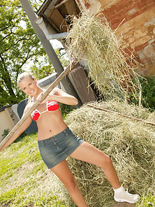Teen farm girl flashes her sexy ass and shoves a vibrator down her wet pussy.