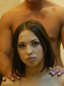 Flawless faced brunette has cock sucking compulsion