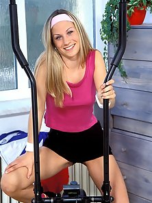 Amazing blonde teen schoolgirl gets doggied by a dildo first time