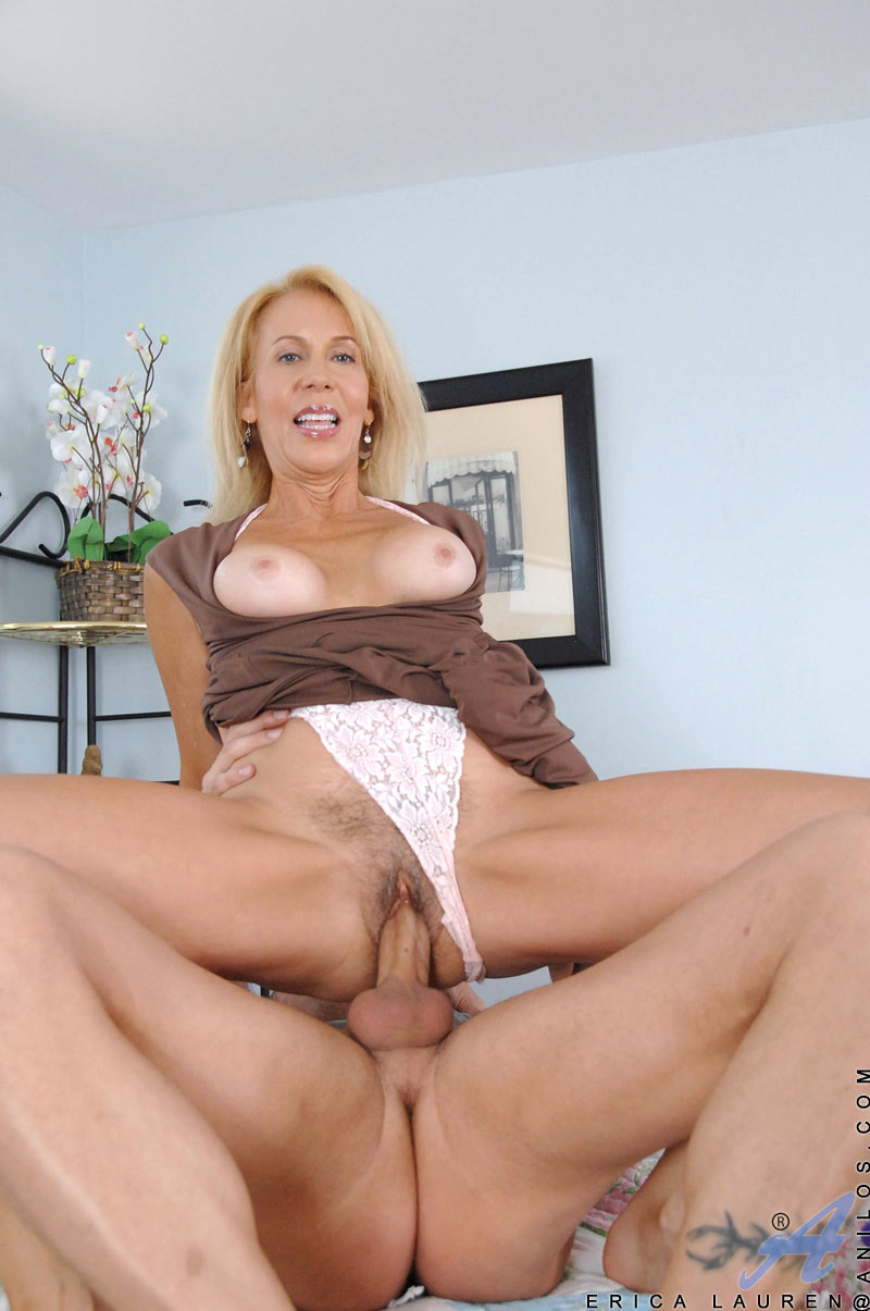 Huge Cock Fuck Milf - ... Blonde haired milf sucks a huge cock and gets fucked in bed by a stud  with ...