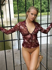 Sexy natural blonde beauty shows her sweet body outdoor