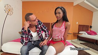 Ebony shemale riding massive cock