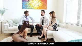 Cute Stepdaughter and her Friend Gets Banged in Foursome Sex