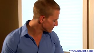 Muscular office handsome cockrides hung colleague