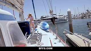 BFFS - Hot Sugar Babies Share Mature Cock On A Boat