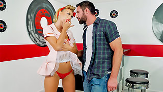 Sultry waitress Natalia Starr intensely fucked and creampied