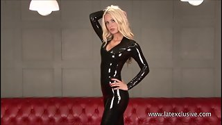 Sexy blonde fetish babe Alessandras latex wear and shiny rubber kink o