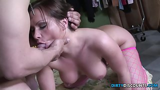 Facialized fantasy babe drilled from behind