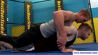 Ripped manly rimmed in the octagon before sex