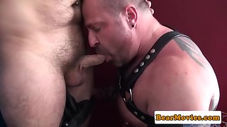 Tattoo hairy-bear assfucking leather strapped bottom