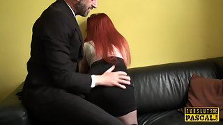 Brit ginger sub spanked before cockriding