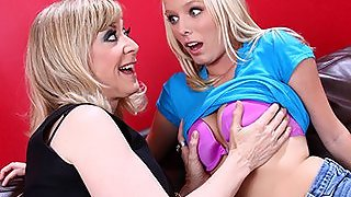 MILF Nina Hartley Gives Teen Girl Her First Lesiban Orgasm!
