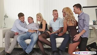 Assfucked studs facialized in bisexual orgy